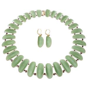 c1950s-1960s silver and guilloché enamel necklace and earring set, £1,240 from Rhinegold Gallery, through 1stdibs