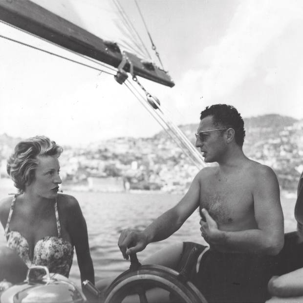 Marella and Gianni Agnelli sailing in the south of France, mid-1950s