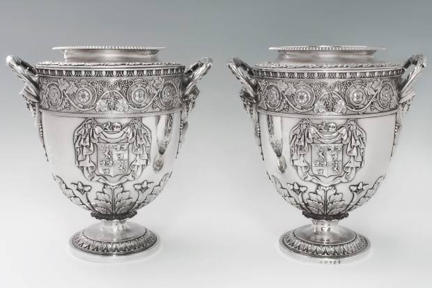 SJ Shrubsole is offering a pair of George III antique English silver wine coolers, 1806, for $275,000