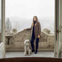 Sandra Sandor and her dog out in the city