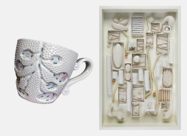 From left: Ikuko Iwamoto's porcelain Ants Nest cup, £120, and her porcelain and wire The Shape of Wall Sculpture to Come II, £3,750