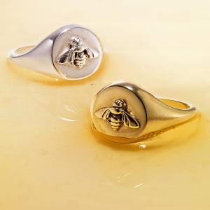Raised Bee signet rings, £75 (silver), £95 (gold-plated)