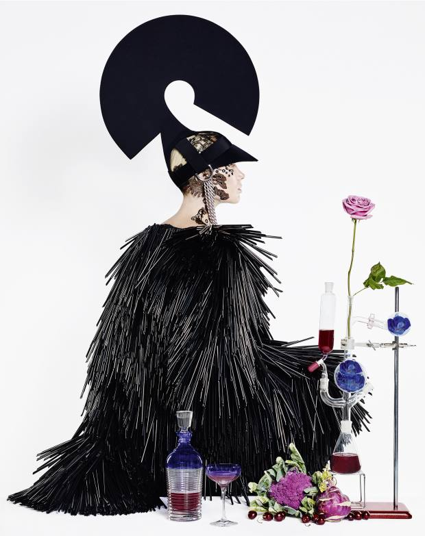 Gareth Pugh cotton and drinking straw dress, from £13,365, and felt and metal hat, from £2,250From left: Waterford crystal Mixology Circon decanter, £240, and crystal Mixology champagne coupe, £200 for a set of four