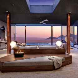 One of the sleekly refurbished suites at andBeyond Sossusvlei Desert Lodge, in the Namib Desert