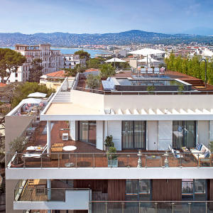A four-bedroom penthouse at Parc du Cap, Antibes, with a panoramic perspective of the Riviera