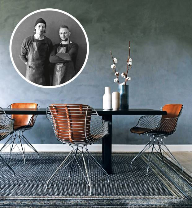 The chrome-plated steel and leather Wire dining chairs, from £3,540, are bestsellers of the Overgaard & Dyrman label, founded by Jesper Overgaard and Chris Dyrman (inset, from left)