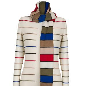 From left: Rykiel Forever mohair/wool-mix multisleeve cardigan, £820; wool jumper with attached scarf, £405; and cotton-mix jumper featuring Rykiel's signature trompe l'oeil tie, £240
