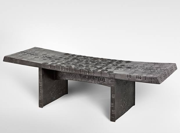 Bronze and leather Banc Tribal bench, from €48,000