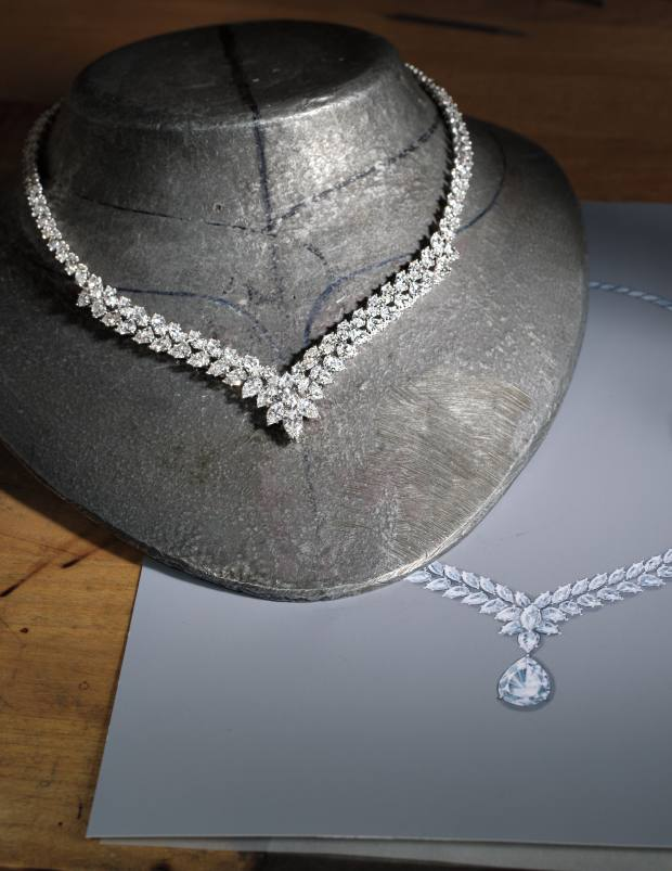 "Each necklace is made from the mix of substantial pear-shaped, marquise and round brilliants that compose the classic Harry Winston ""cluster"" setting"