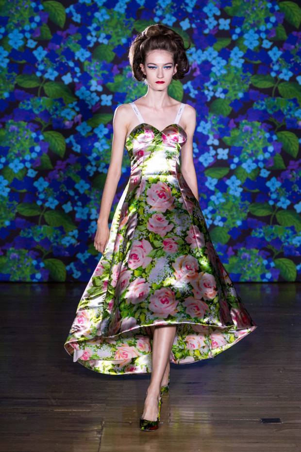 A 1950s-inspired Richard Quinn gown featured in his runway debut at Liberty
