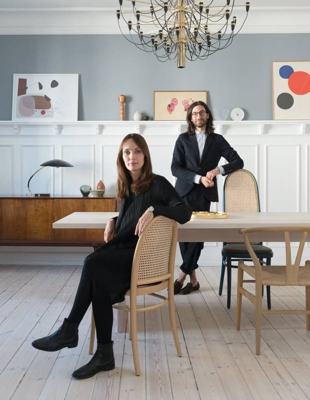 Gam and Fratesi at home in Copenhagen with their beech and Vienna straw Morris chairs, from €635, for Wiener GTV Design