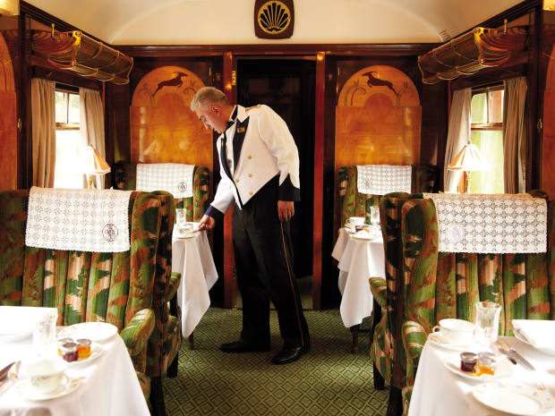 The black-tie dinners with wine pairings are served by traditional liveried waiters