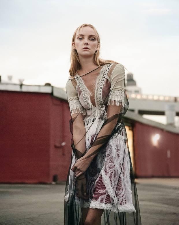 Vionnet silk-mix cape, price on request. Rodarte silk, velvet and net dress, price on request