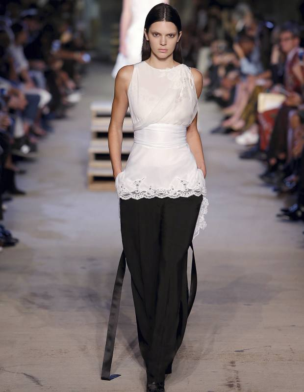Riccardo Tisci for Givenchy crepe-jersey, lace and chiffon top, from €3,995, and cady trousers, from €1,200