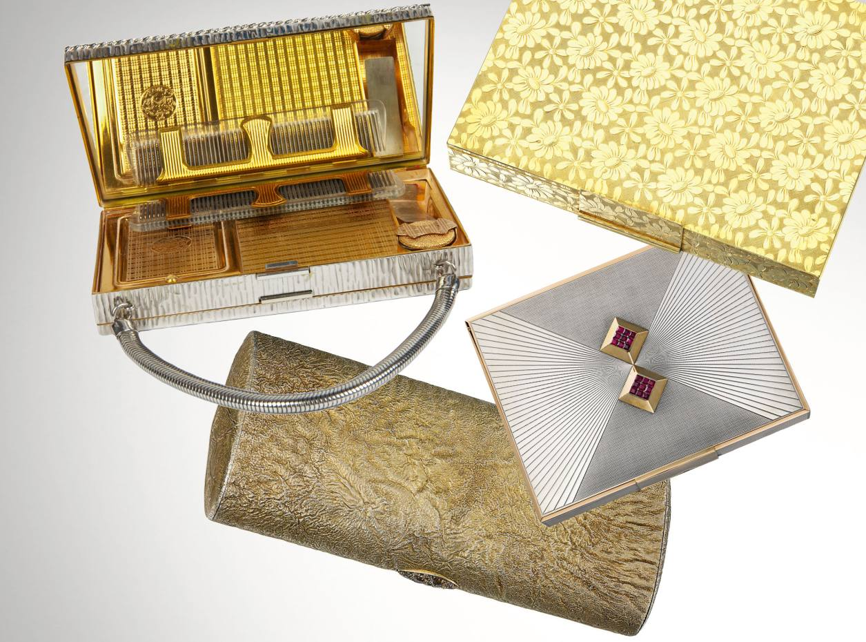 Clockwise from top left: silver 1940s minaudière from Susan Caplan Vintage, £295. Gold 1950s Van Cleef & Arpels minaudière, sold by Sotheby's for £13,750. Styptor 1940s Van Cleef & Arpels minaudière, sold by Christie's for $5,000. Fleur Cowles' 1970s Cartier case, sold by Christie's for £8,125.