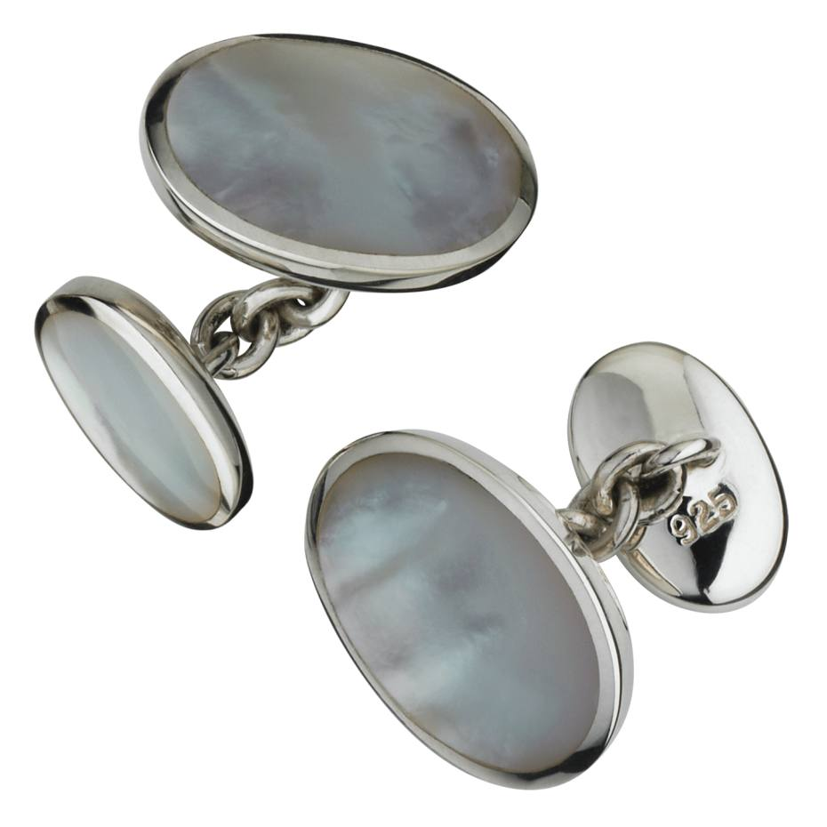 Aspinal of London Oval cufflinks in silver and mother-of-pearl, £65. Also with lapis lazuli