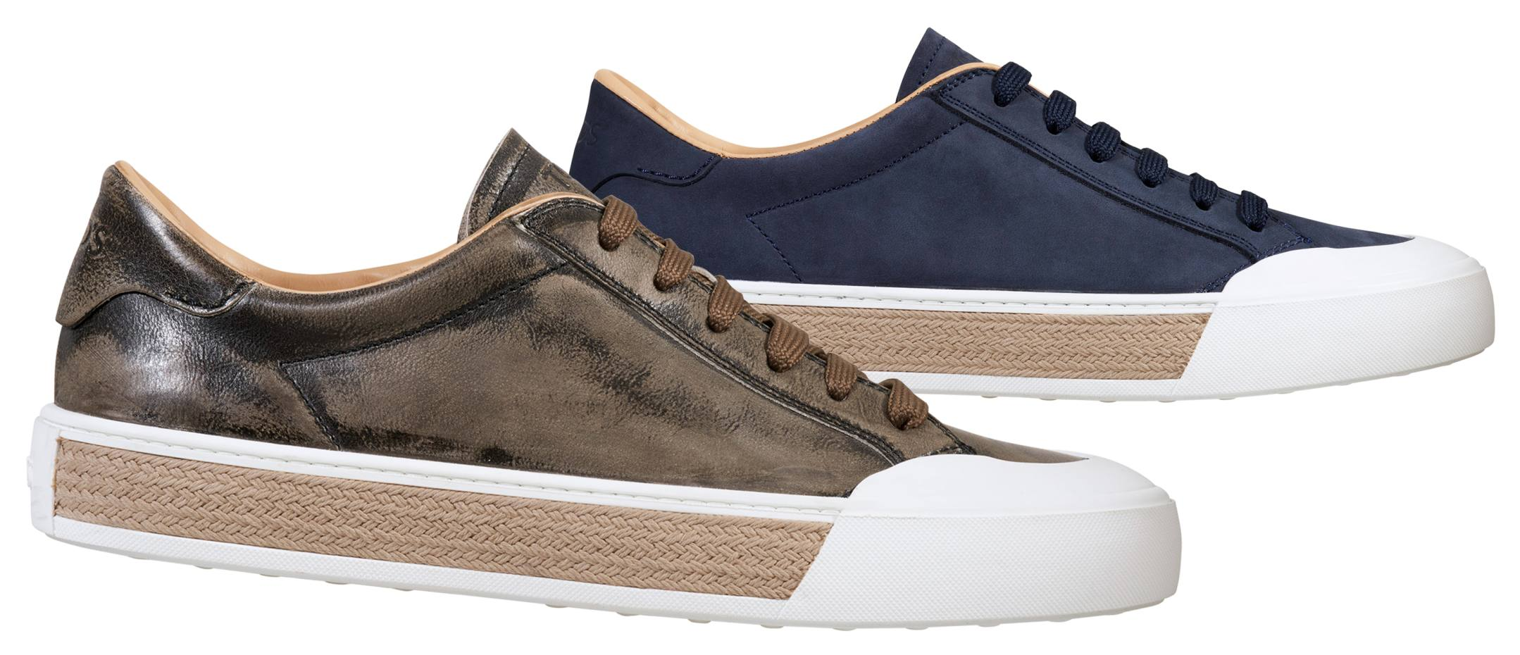 """From left: Tod's Sportivo sneaker in washed calfskin """"chrome"""" tanned leather, £375. In muted navy suede, £330"""
