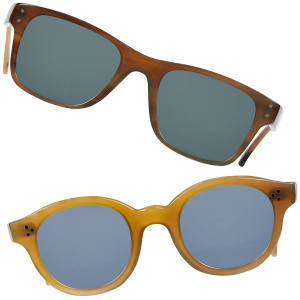 Baudin buffalo-horn sunglasses with grey or green lenses, £1,200 each