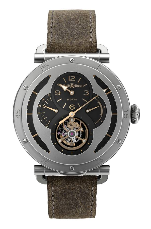 Bell & Ross limited-edition WW2 Military Tourbillon in titanium on calfskin strap, £90,000. Also on alligator strap