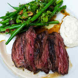 Grilled onglet, green beans and pickled walnut, £18.50