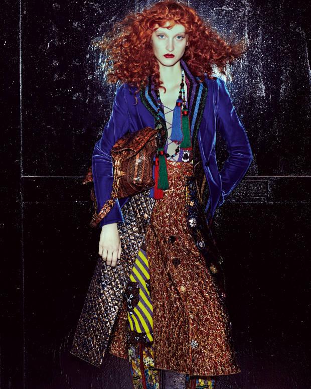 Giorgio Armani velvet jacket, £2,050, and silk tassel and glass necklace, £1,250. Gucci wool/Lurex vest, £1,610, and wool/Lurex jumpsuit, £1,790. Dolce & Gabbana silk jacquard skirt, about £3,045. Christian Louboutin lace and leather Fishnet boots, £895. Michael Kors Collection python bag, £1,525