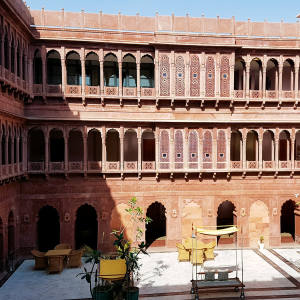 The magical courtyard at former palace Narendra Bhawan in Bikaner, Rajasthan, is just one of the hotel's charms