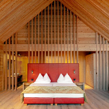 Thelight-filled rooms at AdlerLodge Ritten in the South Tyrol are made of sustainably sourced spruce