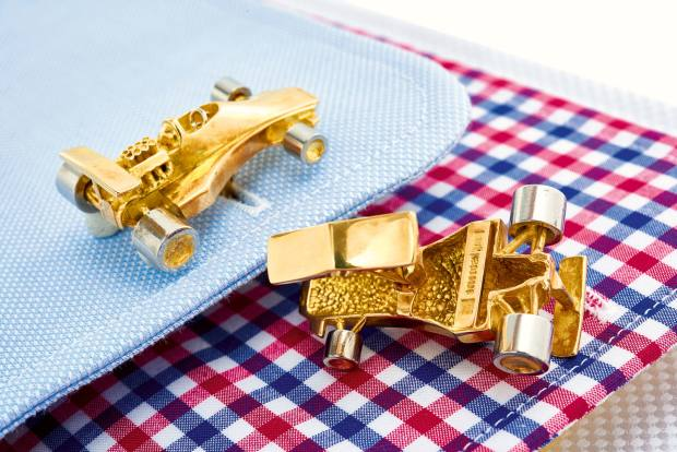 Stittgen gold racing-car cufflinks, sold for €2,250 at Sotheby's
