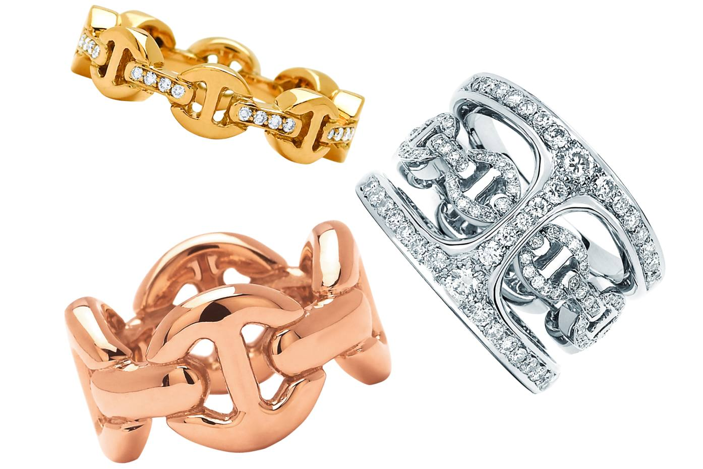 e012f857 Clockwise from top: Hoorsenbuhs 18ct yellow gold and diamond Dame Tri-Link  ring,