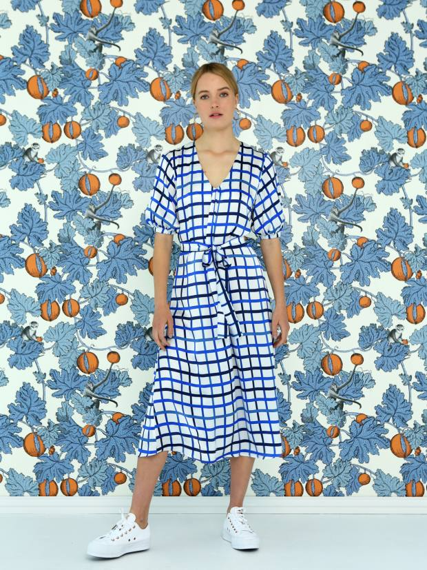 The Noora dress, £350, in silk blue check