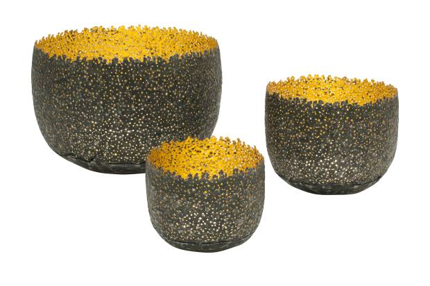 Claire Malet reformed metal can and 24ct gold Eroded Bowls: large, £3,085; medium, £885; small, £750