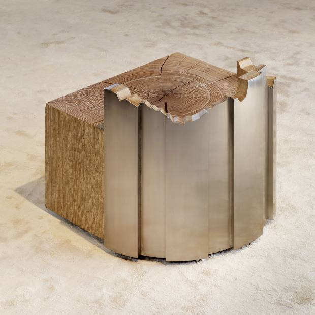 Column seat in stainless steel and oak, 2012. Price on request