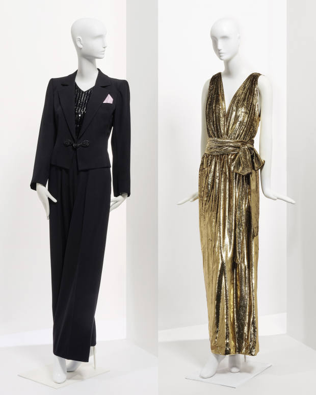 From left: Le Smoking haute-couture suit, €1,000-€1,500. Gold Lurex velvet evening dress, worn by Deneuve to the Oscars ceremony in 2000 for the nomination of the movie Est-Ouest, €2,000–€3,000