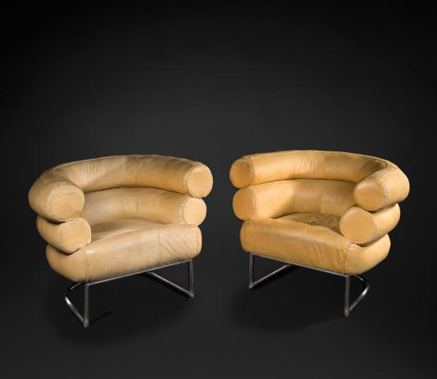 Canvas Bibendum armchairs by Eileen Gray, c1930, available at the Galerie Jacques de Vos