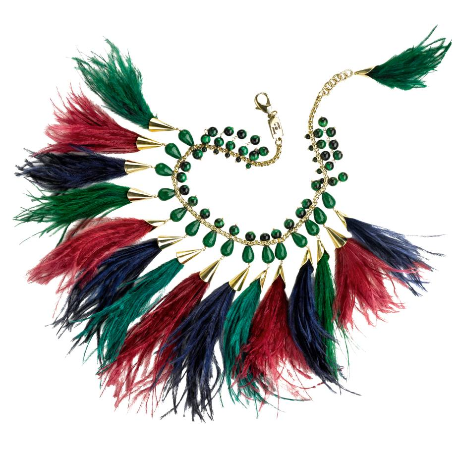 Rosantica necklace by Michela Panero, in gold-tone brass with green quartz and ostrich feathers, £438