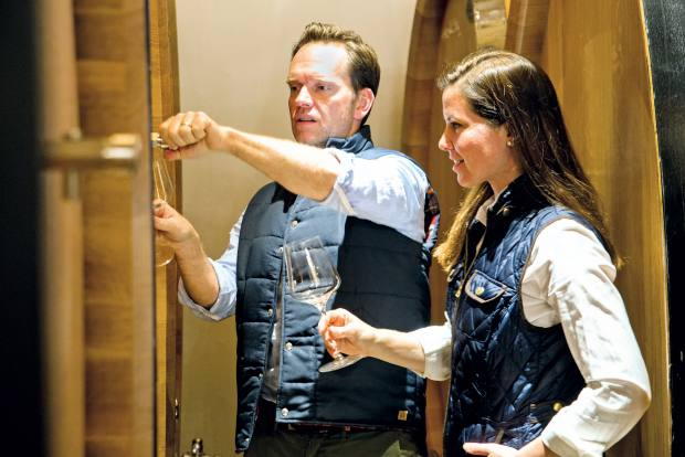 The estate's winemakers Chris and Andrea Mullineux of Mullineux Family Wines