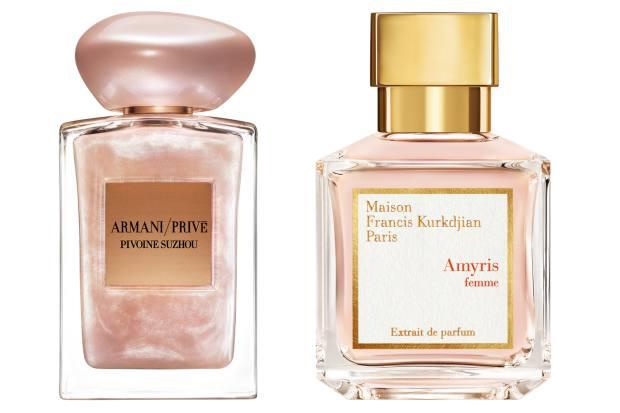 Armani/Privé Pivoine Suzhou Soie de Nacre, £155 (100ml). Maison Francis Kurkdjian Amyris Femme, €150 (70ml)