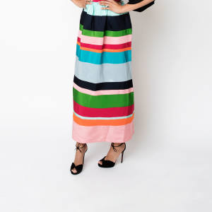 Molly Moorkamp silk Long Striped skirt, $1,100