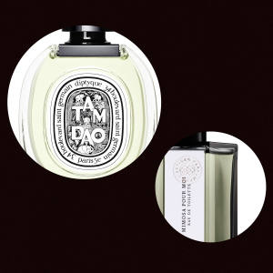 Clockwise from top left: Serge Lutens Iris Silver Mist, £170 for 75ml EDP. L'Artisan Parfumeur Mimosa Pour Moi, £105 for 100ml EDT. Diptyque Tam Dao, £92 for 100ml EDT