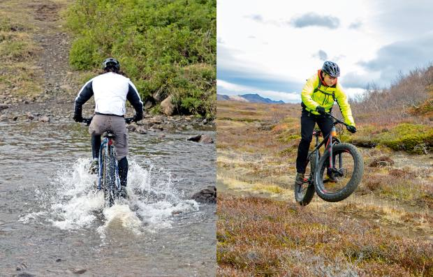 From left: crossing a riverclose to Leyningsfoss. Baldvinsson gets airborne onatrail nearLake Mývatn