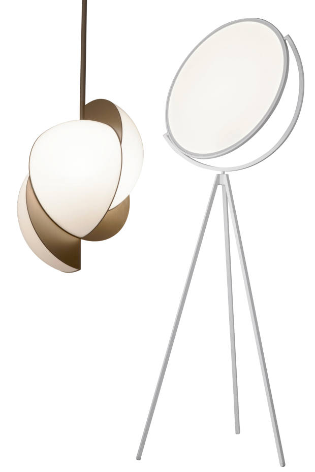 From left: Lara Bohinc and Lapicida metal and acrylic Collision ceiling light, £5,135. Jasper Morrison for Flos aluminium and acrylic Superloon lamp, from £3,120