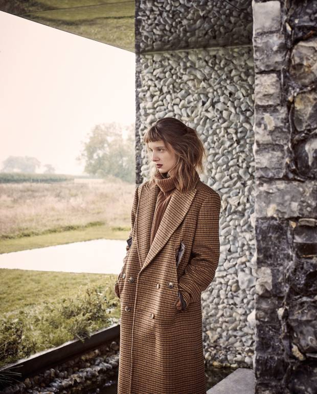 Michael Kors Collection wool coat, £2,545, and cashmere/mohair jumper, £1,110