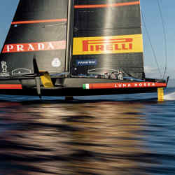 The Prada Luna Rossa in full flight as the team trains for the 36th America's Cup