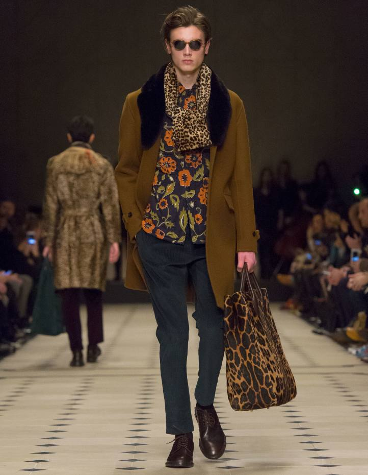 Burberry Prorsum wool and shearling Chesterfield coat, £2,495, and shearling scarf, £795