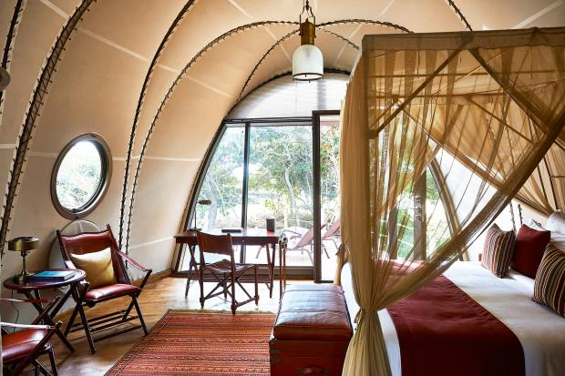 "The ""Jules Verne meets steampunk"" Cocoon accommodation at Wild Coast Tented Lodge"