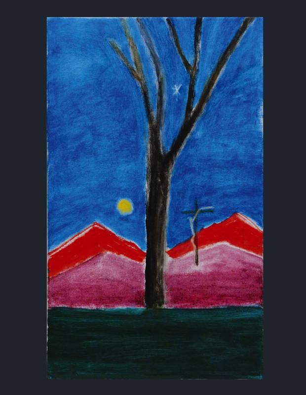 Craigie Aitchison's Tree in Landscape, 2009.