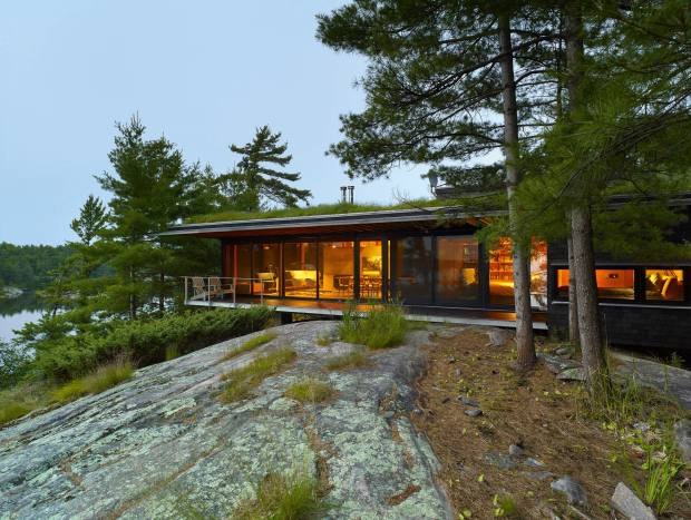 Architect Ian MacDonald created his own green-roofed home on Ontario's Georgian Bay