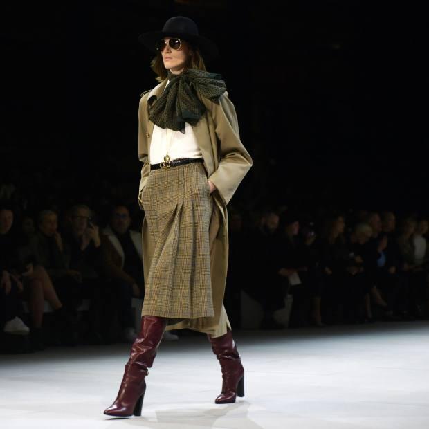 Celine wool/cotton coat, £2,750, silk/acetate shirt, £740, and tweed skirt,£1,750