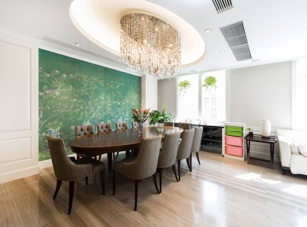The dining room of a six-bedroom apartment at Consort Garden, Pokfulam, Hong Kong, about £5.03m through Landscope Christie's International Real Estate