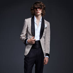 Tom Ford satin Shelton jacket, £2,200, and matching trousers, £940